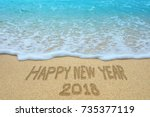 happy new year 2018 written on... | Shutterstock . vector #735377119