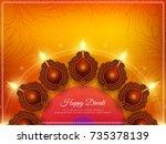 abstract happy diwali stylish... | Shutterstock .eps vector #735378139