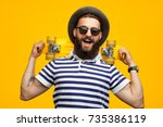 portrait of young hipster man... | Shutterstock . vector #735386119