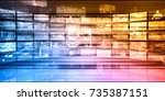 cyber security network with...   Shutterstock . vector #735387151