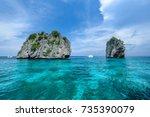 beautiful seaview of koh ha  ... | Shutterstock . vector #735390079