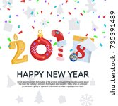 greeting card with new year and ... | Shutterstock .eps vector #735391489