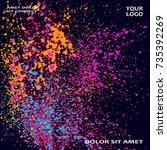 neon explosion paint splatter...   Shutterstock .eps vector #735392269