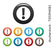 exclamation point icons set.... | Shutterstock .eps vector #735394081