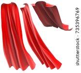 superhero red cape isolated on... | Shutterstock . vector #735396769
