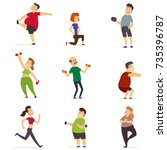 sports people in the flat style.... | Shutterstock .eps vector #735396787
