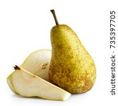 Small photo of Single abate fetel pear next to a half and a slice of pear isolated on white.