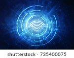 2d illustration wifi symbol  | Shutterstock . vector #735400075