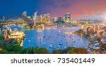 downtown sydney skyline in... | Shutterstock . vector #735401449