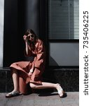 fashion photo  street style... | Shutterstock . vector #735406225