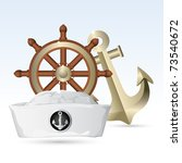 illustration of sailor hat with ...   Shutterstock .eps vector #73540672