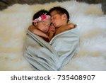 newborn baby twins boy and girl ... | Shutterstock . vector #735408907