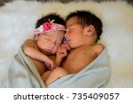 newborn baby twins boy and girl ... | Shutterstock . vector #735409057