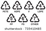 set of recycling symbols for... | Shutterstock .eps vector #735410485