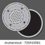 Manhole Street Cover Vector...