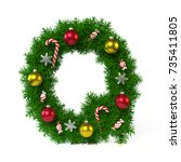 christmas font isolated on... | Shutterstock . vector #735411805