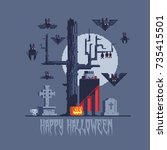 vampire dracula and bats  pixel ... | Shutterstock .eps vector #735415501