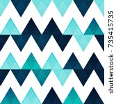 blue zigzag seamless pattern | Shutterstock .eps vector #735415735