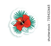 tropical sticker  fashion pin... | Shutterstock .eps vector #735422665