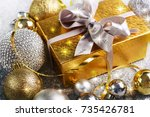 christmas gift box with... | Shutterstock . vector #735426781