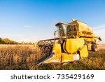 harvesting of soybean field...   Shutterstock . vector #735429169
