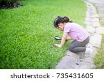 cute little girl exploring a... | Shutterstock . vector #735431605