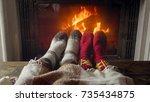toned photo of couple feet...   Shutterstock . vector #735434875