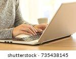 close up of a woman hands... | Shutterstock . vector #735438145