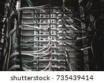 server rack with servers and...   Shutterstock . vector #735439414