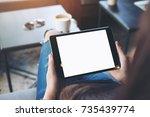 mockup image of woman's hands... | Shutterstock . vector #735439774