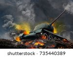 tank on the hill burning fire | Shutterstock . vector #735440389