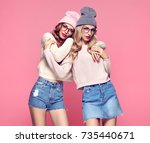 fashion. young woman hugging in ... | Shutterstock . vector #735440671