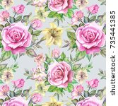 pattern with watercolor flowers | Shutterstock . vector #735441385