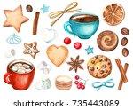 watercolor set of elements.... | Shutterstock . vector #735443089
