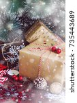 christmas holiday gift box on... | Shutterstock . vector #735443689