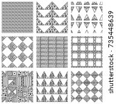 seamless vector pattern. black... | Shutterstock .eps vector #735448639