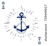 vintage label with an anchor... | Shutterstock .eps vector #735449017