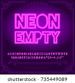 bright neon alphabet letters ... | Shutterstock .eps vector #735449089