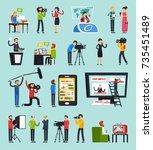 creating news  set of... | Shutterstock .eps vector #735451489