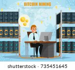 cryptocurrency bitcoin mining... | Shutterstock .eps vector #735451645