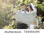 couples are planning a... | Shutterstock . vector #735454195