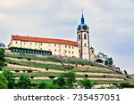 the castle in the medieval... | Shutterstock . vector #735457051