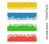 set of color abstract pixel web ... | Shutterstock .eps vector #735457615