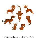 set of vector lions and tigers... | Shutterstock .eps vector #735457675