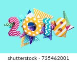 new year 2018. colorful design. | Shutterstock .eps vector #735462001