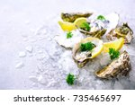 fresh opened oysters  lemon ... | Shutterstock . vector #735465697