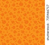 halloween seamless pattern with ... | Shutterstock .eps vector #735466717