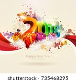 new year 2018. colorful poster.   Shutterstock .eps vector #735468295