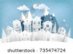 views of housing in winter.... | Shutterstock .eps vector #735474724