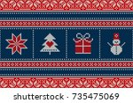 winter holiday seamless knitted ... | Shutterstock .eps vector #735475069
